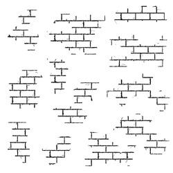 Texture of a brick wall. Abstract background of white brick masonry. Running masonry. Vector illustration. Brick wall under old plaster. Pieces of a brick wall. Brickwork elements.