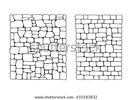 Texture of stones. Stone wall from blocks set vector