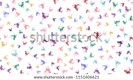Texture pattern seamless from cheerful iridescent beautiful amorous gentle bright motley multicolored heartfelt festive favorite unique luxurious hearts. Back background Vector illustration.