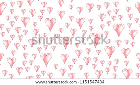 Texture pattern seamless from pink red glass iridescent beautiful loving tender bright pink heartfelt festive favorite unique luxurious hearts. Back background Vector illustration.