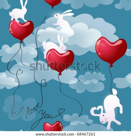 Texture Rabbits with Valentine hearts in the sky #68467261