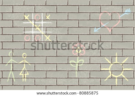 Textured brick wall with romantic symbols