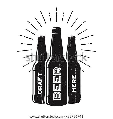 Textured craft beer pub, brewery, bar logo design with bottle silhouettes and sunrburst. Vector label, emblem, typography.
