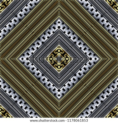 Textured geometric grid 3d vector seamless pattern. Ornate lattice  background. Tiled abstract greek key meander ornament. Modern geometry design with rhombus, squares, shapes, zigzag, stripes, chains