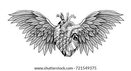 textured heart with wings