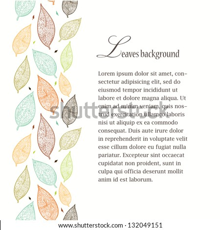 Textured leaves seamless line background.