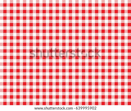 Textured red and white plaid vector background. The pattern for textiles. Background for food. Chequered. Seamless checkered pattern.