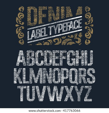 stock-vector-textured-vintage-font-denim-jeans-label-typeface-design-elements-with-grunge-effect