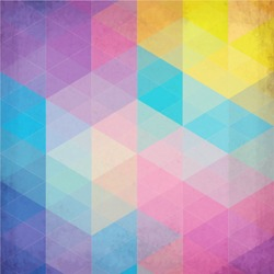 Textured vintage rainbow vector triangles background