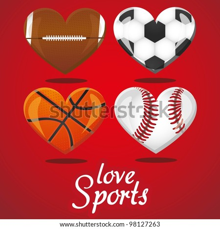 textures of different sports balls in the shape of heart