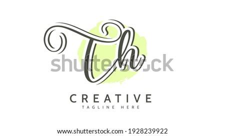 TH loop R Initials, handwriting logo vector Photo stock ©