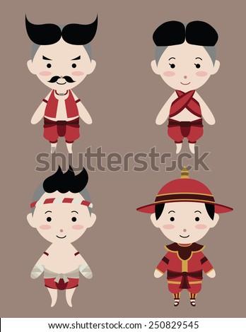 thai ancient warriors sd vector