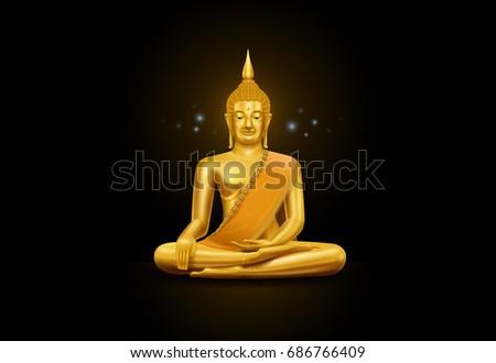 thai art buddha statue and