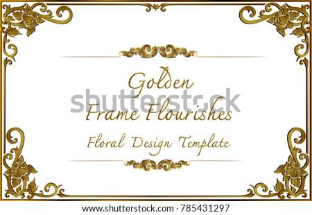 Thai Art, Gold border frame with Thailand line floral for picture, Vector design decoration, pattern style frame corner design is pattern