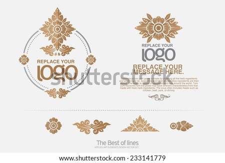 thai art Insignias or Logotypes set Vector design elements business signs logos identity labels badges and objects