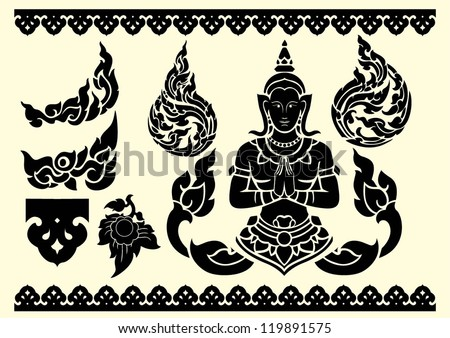 Thai arts and pattern vector