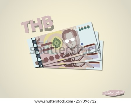 Thai baht money paper minimal vector graphic design