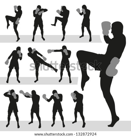 Thai boxing.Muay Thai.Vector silhouettes. EPS-10 (non transparent elements, non gradient)