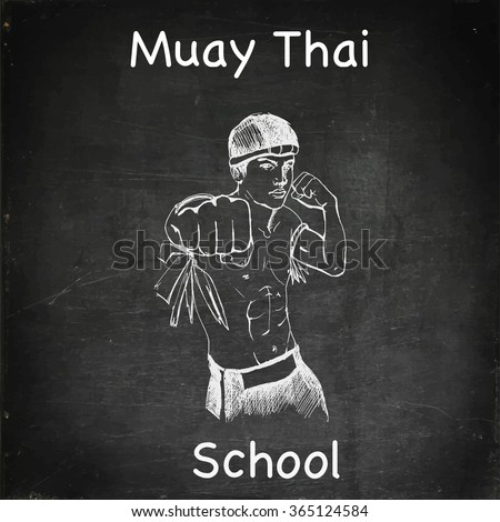 thai boxing school chalk