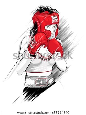 thai boxing  woman fighting