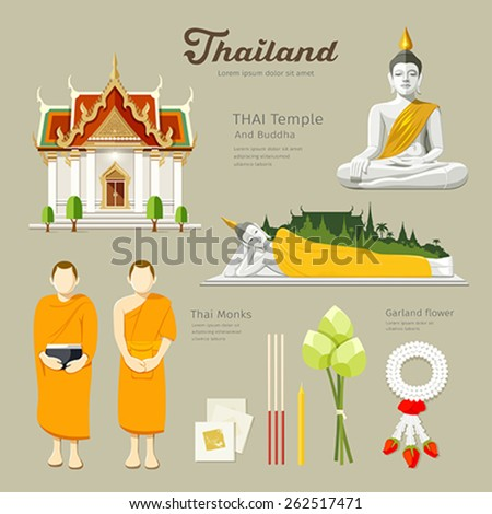 Thai Buddha and Temple with monks, lotus,flower,candle design background, vector illustration