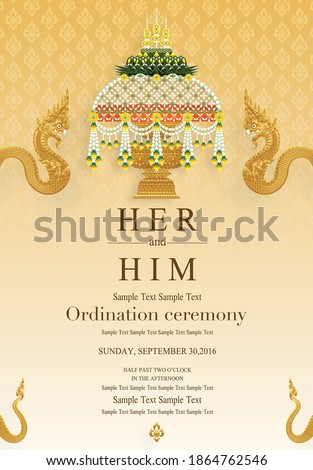 Thai Buddhist Monk robes with flower for Ordination ceremony card in buddhist Thai monk ritual for change man to monk in ordination ceremony in buddhist in Thailand. Stock photo ©