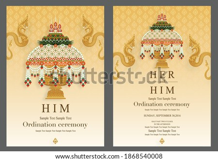 Thai Buddhist Monk robes with flower for Ordination ceremony card in buddhist Thai monk ritual for change man to monk in ordination ceremony in buddhist in Thailand.