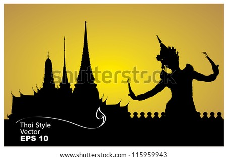 thai dance woman with temple in