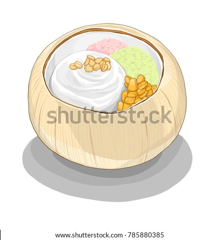 Thai Desserts 14 - Coconut ice cream in coconut shell served with corn, peanut and sticky rice