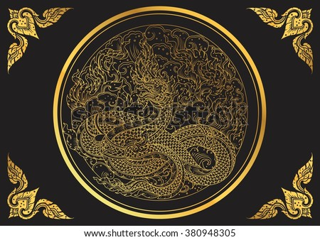 thai dragon outline vector