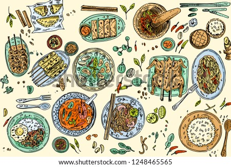Thai food background, Hand drawn popular Thai food such as Tom Yum Soup, Pad Thai Noodles, Chicken Satay, Papaya Salad etc.
