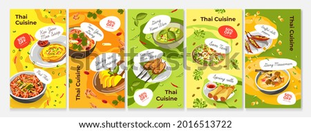 Thai food story set, vector illustration. Asian traditional cuisine from thailand, spicy pad thai, tom yum and spring rolls design. Dinner meal with vegetable, sticky rice with mango, som tam.