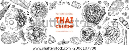 Thai food top view vector illustration. Food menu design template. Hand drawn sketch. Thai food menu. Vintage style. Pad thai, khao man gai, thai noodle soup, pad krapow gai, massaman curry.