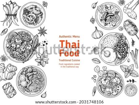 Thai food top view vector illustration. Food menu design template. Hand drawn sketch. Thai food menu. Vintage style. Pad thai, pad krapow gai, tom yum, tom kha gai, thai noodle soup Foto stock ©
