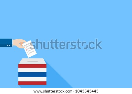 Thai General Election 2018, Hand Putting Voting Paper in the Ballot Box, object flat style on blue background, cartoon vector Illustration.