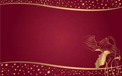 Thai Gold Lotus Leaf with Curvy and Scatter Graphic on Dark Red Background