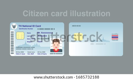 Thai ID card citizen card mockup for infographic