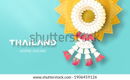 Thai jasmine garland and golden pedestal tray top view vector illustration for Mother's day or Songkran festival or religion buddhism observation day to show appreciate and gratitude.