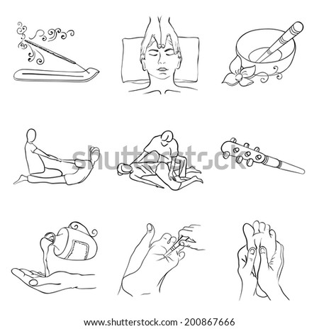 Thai massage icon set