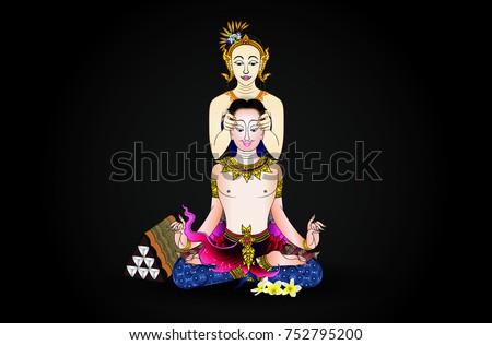 thai massage vintage background vector