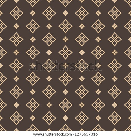 Thai modern repeat pattern in brown and gold color