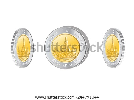 Thai money 10 baht coin vector