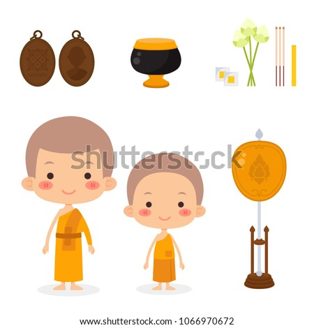 Thai Monks And Novice, Objects Set
