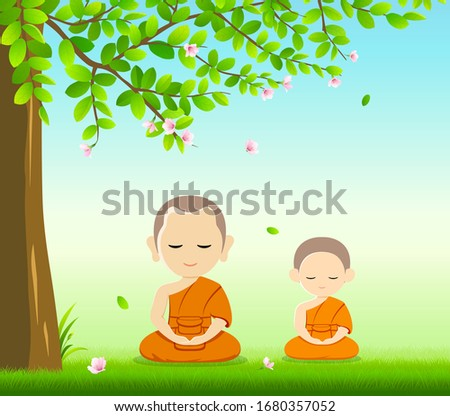 Thai monks and thai novice, Buddhism meditation sit down vector, on grass with under tree and flower background, illustration