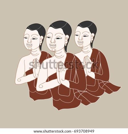thai monks in vintage painting