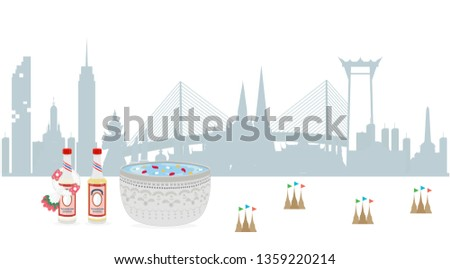Thai New Year. songkran water festival thailand. Thai scented water (Nam Ob Thai) and Traditional Thai Silver Bowl. Vector illustration