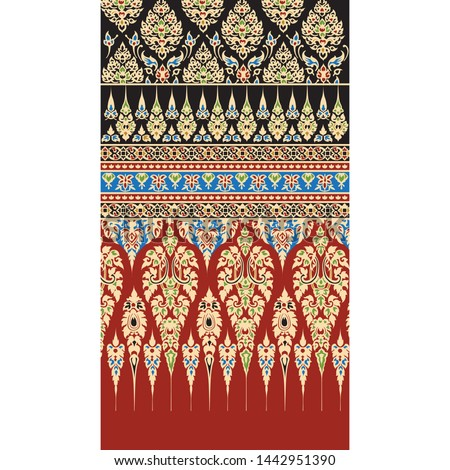 Thai Ornament Background , Thai style graphic Back ground, pattern painting for wall of Thai temple or Thai silk