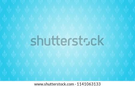 Thai pattern background vector illustration. Thai element pattern on bright blue background.