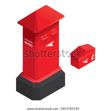 Thai post box red , letter box , illustation flat isometric isoleted , red.
