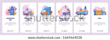 Thai spa and massage parlor icons. Essential oil, towels, herbal compress. Mobile app onboarding screens. Vector banner template for website and mobile development. Web site design illustration.